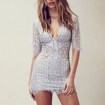 For Love & Lemons Lyla Cocktail Dress in Silver