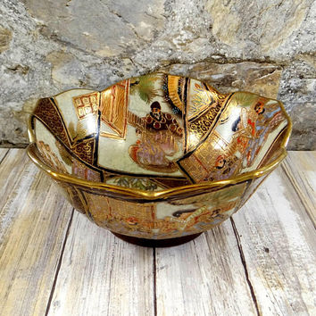 Vintage Satsuma Moriage Bowl, Hand Painted, Heavy Gold Gilt