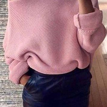 Women's Off Shoulder Sweater   Loose Fitting