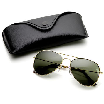 Limited Edition Classic Metal Tear Drop Aviator Sunglasses + Case 1041