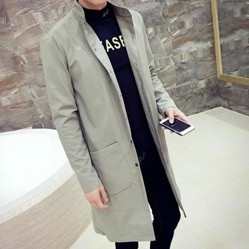 Big Size XXXL Men's Trench Coats England Man's Single-Breasted Long Pea Coat Trench Slim Fit Classic Trenchcoat in Men's Trench