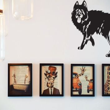 Black Norwegian Elkhound Vinyl Wall Decal (Removable Sticker)