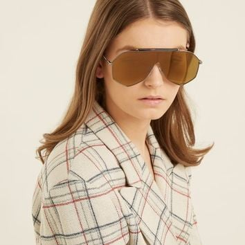 Angular D-frame metal sunglasses | Alexander McQueen | MATCHESFASHION.COM UK