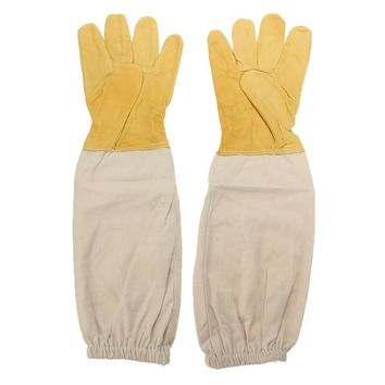 Yellow and white Pair Beekeeping Goatskin Cape Gloves XXL Sheepskin W/ Vented Long Sleeves Guard New