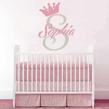 Personalized Name Decals Girl Nursery Wall Decal Crown Monogram Home Decor DS382