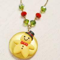 gingerbread man locket necklace, christmas necklace, gold locket, keepsake locket, bff, daughter gift, cute ginger bread, bridesmaid gift