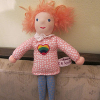 Meghan Fabric doll with a heart and pink hair, pocket doll 25cm, Waldorf style