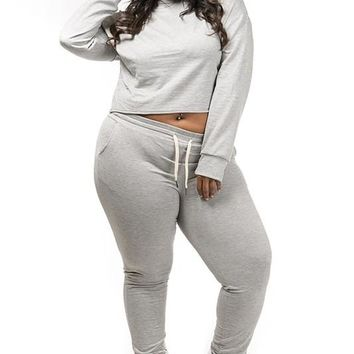 Cropped hoodie & Jogging pants set Plus Size