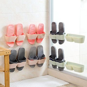 Multi-color Shoes Storage Convenient Chic No Trace Adhesive Shoes Rack Wall Hanging Shoes Storage Organizer Hanger Country Style