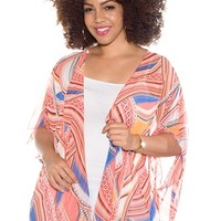 Bright Beauty Plus Size Printed Chiffon Cardigan - Rust