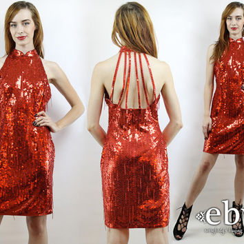 Vintage 90s Red Sequin Dress S M Red Cocktail Dress Red Dress Glam Dress Disco Dress Bodycon Dress Prom Dress Bandage Dress Fringe Dress