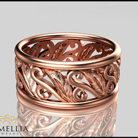 Leaf Desgin 14K  Rose Gold Ring, Wedding Band,Wedding Eternity Ring,Leaf Ring,Solid Gold,Birdal Jewelry, Unique Wedding Ring