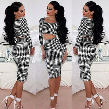 Hound's Tooth Print Long Sleeve Crop Top and High-Waisted Bodycon Midi Skirt Two-Piece Dress