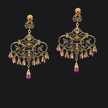 Designer Ruby and Diamonds Chandelier Earrings