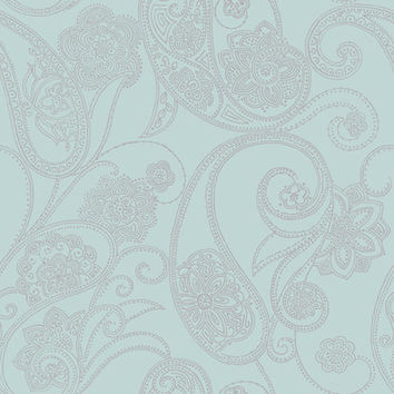 Dotted Paisley Wallpaper in Soft Blue and Metallic design by Candice Olson