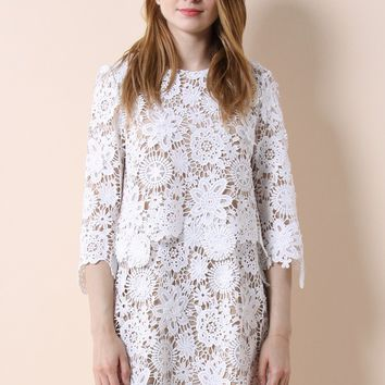 All About Crochet Tiered Shift Dress