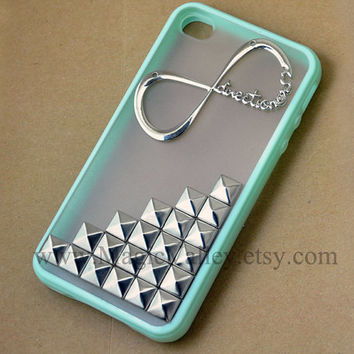 One Direction Iphone 4s Case, Iphone 4 case, Infinity Directioner Iphone Case with Silver Pyramid Silver Studs, Studded Iphone 4 4S Case