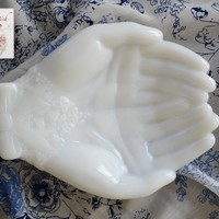 Vintage White Milkglass Open Hands Dish Tray / Hand Shaped Trinket Dish