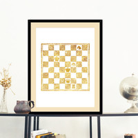 Chess Board Gold Faux Foil Poster Print  Wall Art Decor Housewares Instant Download