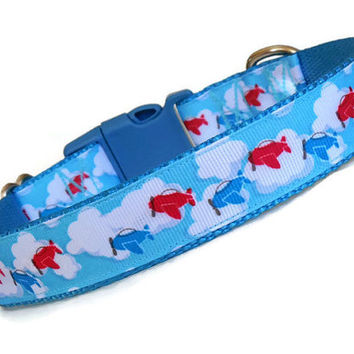 Airplanes in the Sky Blue Boy Dog Collar - Adjustable - Nylon - (Buckle or Martingale)