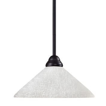Z-Lite 2114MP-BRZ-AWL14 Riviera One-Light Bronze Dome Pendant with Angled White Linen Glass Shade