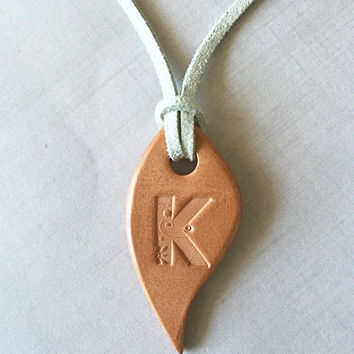 "Letter ""K"" Monogram Terracotta Diffuser Necklace - Essential Oils - Faux Suede Cord -unglazed Terra Cotta Clay Pendant 1.5"" Alphabet Initial"