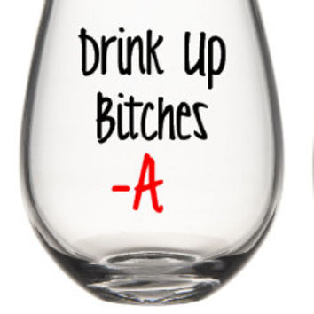 2 Pretty Little Liars Wine Glass, Cute Wine Glass, PLL,