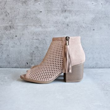 Olivia perforated ankle booties - taupe