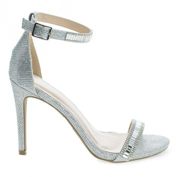 Berlin169 Silver Metallic Classic Mesh Glitter High Heel Dress Sandal w/ Ankle Strap & Studs