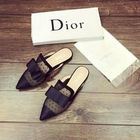 """Dior"" Temperament Fashion Polka Dots Perspective Gauze Bow Pointed-toe Slippers Women Sandals Flats Shoes"