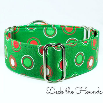 Christmas Martingale Dog collar, Green martingale, red martingale collar, whippet collar, greyhound collar, holiday dog colalr, canada