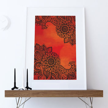 Bohemian Floral art print Illustration Art Print Giclee on Cotton Canvas and  Paper Canvas Boho Poster Wall Decor