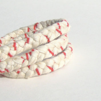 T-Shirt Bracelet. Fabric Braided Bracelet. Tan with Red Stripes. Triple Wrap Bracelet. Eco Fashion.
