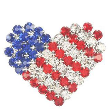 Stars And Stripes Heart Rhinestone Metal Pin And Brooch