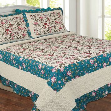 New! Cream Teal Blue Floral Country Cottage Beautiful Quilted Bedspread Throw
