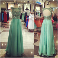 A-Line Green Beading  Prom Dresses,Evening Dresses