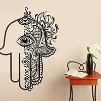 Wall Decal Vinyl Sticker Decals Hamsa Hand Lotus Flower Yoga Namaste Indian Ornament Fatima Hand Wall Stickers Home Decor Art Bedroom Design Interior Mural C11