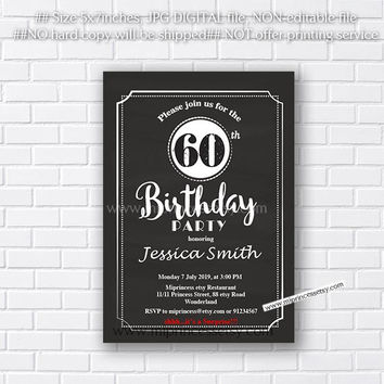 Birthday Invitation or Wedding Anniversary Invitation , any age, any years, 10th 20th 30th 40th 50th 60th 70th chalkboard  - card 531