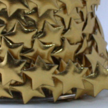 "Gold Metallic Stars Ribbon 3/4"" wide by the yard Headbands, Christmas, Weddings, Gift Wrap, Invitations, Scrapbook"
