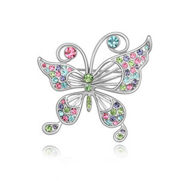 Genuine White Gold Plated Rhinestone Butterfly Brooches for Women