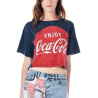 [The Classic Brand] Navy Coca Cola Graphic Tie-Dye Rhinestone Crop Top Small