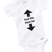 Feed This Change That Onesuit Baby Clothing Shower Gift Funny Cute Geek Toddler