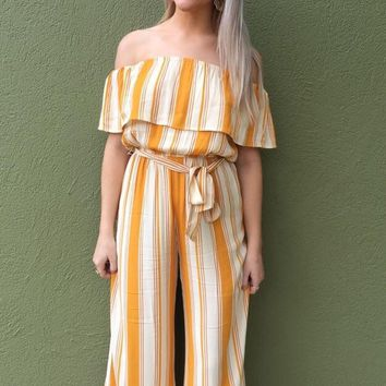 Walking On Sunshine Jumpsuit- Gold