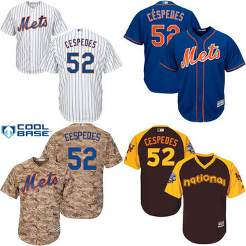 Youth #52 Yoenis Cespedes Jersey New York Mets Jersey Embroidery logo Cool Base Authentic Baseball Jerseys S-XL
