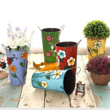 home decoration vase Three-dimensional applique metal vase bucket rustic flower barrels for decoration flower modern classic