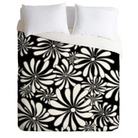 Madart Inc. Swirly Flower Black And White Duvet Cover