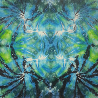 Tie dye tapestry wall hanging in green blue black