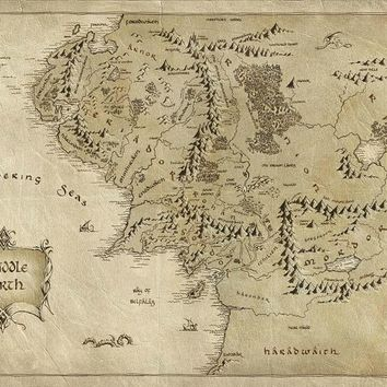 Map of Middle Earth Lord Of The Ring Map Art wall poster silk fabric print for home decor