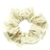Ivory Microfiber Finish Scrunchie Hair Accessory