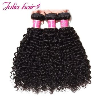 Ali Julia Hair Brazilian Curly Weave Human Hair Bundles Remy Free Shipping Natural Black Color 8''-26'' 1PC 3PC 4PC
